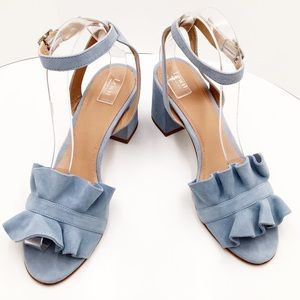 {LEWIT}Lucina Baby Blue Suede Ankle Strap Sandals